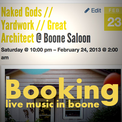 Who to contact to get your band booked in Boone